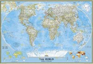 "WORLD MAP CLASSIC by NAT. GEO - 69"" x48"""