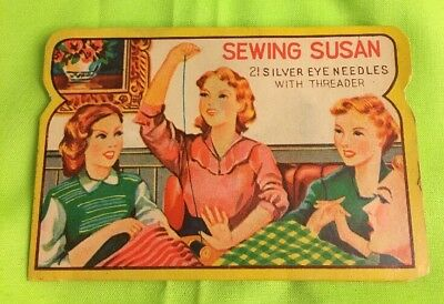 VINTAGE 1960S OLD ADVERTISING SEWING SUSAN 21 SILVER EYE NEEDLES WITH THREADER