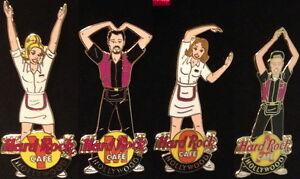Hard-Rock-Cafe-HOLLYWOOD-2001-YMCA-4-PINS-Boxed-Set-Waitresses-Waiters-2919