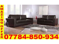 LEATHER 3 SEATER AND 2 SEATER SOFA IN BLACK OR BROWN 556