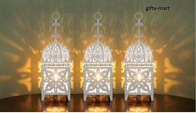 3 white Moroccan Marrakech scrollwork Lantern Candle holder wedding decoration
