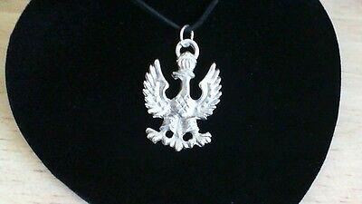 Polish Eagle Pewter Pendant Leather Necklace! New Coat of Arms Poland Slavic