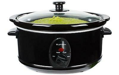 Premium Black Slow Cooker 8.0L Pot + Removable Ceramic Inner Bowl Steam Grill