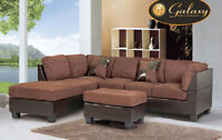 Liquidation beige or brown fabric sectional with ottoman