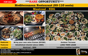 Restaurant for sale in NDG Montreal + BYOW up to 110 seats