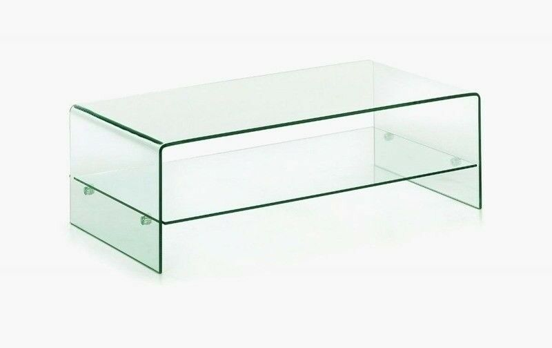Large Murano Bent Curved Gl Coffee Table With Shelf 120 X 70 40