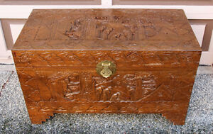 Antique Asian Hand Carved All sides Camphor Chest
