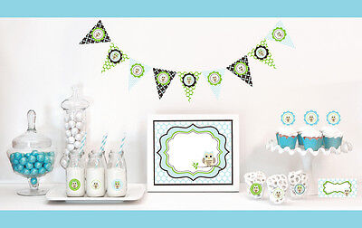 Blue Owl Boy Baby Shower Party Decorations Starter Kit - Blue Owl Baby Shower Decorations