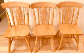 Solid Wood Fiddleback Kitchen Chairs