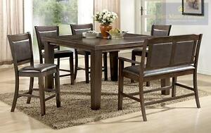 50% OFF.  6PC COUNTER HEIGHT SET.  SET INCLUDES 2204CH TABLE WITH BUTTERFLY LEAF, 4 CHAIRS AND A BENCH.  REGULAR $2199 N