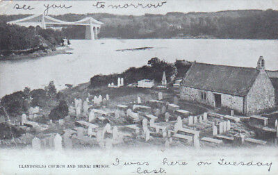 POSTCARD LLANDYSILIO CHURCH & MENAI BRIDGE POWYS POSTALLY USED LIVERPOOL 1904