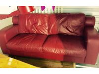2 X Red leather Italian sofa 3 and 2 seater