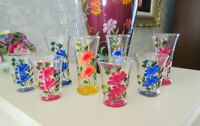 Hand Painted JUICE Glasses - Flower Design - Set of 8