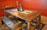 HANDCRAFTED RUSTIC HARVEST TABLE w MATCHING BENCH