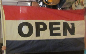 OPEN Flag,Pole and Mounting Bracket