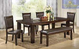 62% OFF Until September 18, 2016--6PC Dining Set Model 2204. Set includes 4 Chairs, Bench and Table.Regular $1999 Now