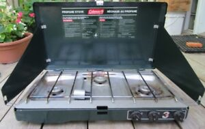 Coleman  3 burner propane stove with hose to hook up propane app