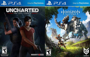 Selling PS4 Uncharted Lost Legacy, Horizon Zero Dawn