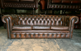 Vintage Antique Brown Chesterfield 3 Seater Sofa