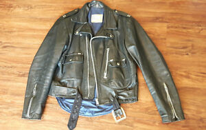 Black Leather Brimaco Motorcycle Jacket