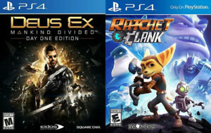 Selling/Trading PS4 Ratchet And Clank, Deus Ex