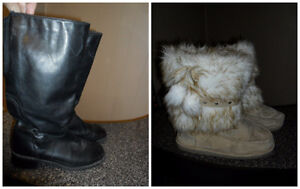 Womans Winter Boots Fur or Black - Adult Size 10 / 11