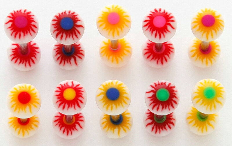 T#122 - 33pc Sunburst UV Acrylic Tongue Rings 14g Tounge