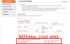 $15 Public Mobile referral code + 1 free month + free sim card