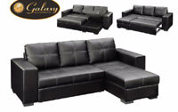 Liquidation bonded leather black sectional bed