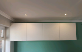 IKEA Besta cupboards with wavy patterned white doors