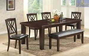 NEW--30% OFF Until July 23, 2016--6PC Dining Set Model 2216. Set includes 4 Chairs, Bench and Table. Regular $1999 Now