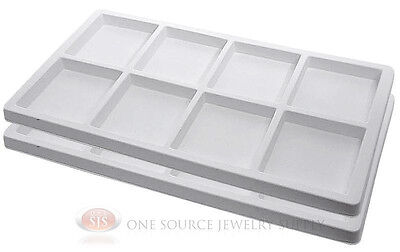 2 White Insert Tray Liners 8 Compartment Each Drawer Organize Jewelry Displays