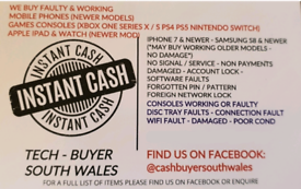 CASH 4 IPHONE SAMSUNG XBOX ONE PS4 FAULTY DAMAGED LAPTOP IPAD