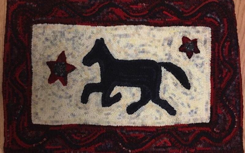 """Wool Hand Hooked Rug - """"Running Horse"""" (25 1/2"""" W x 18"""" L)"""