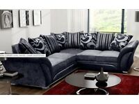 LEATHER & CHENILLE FABRIC corner sofa or 3+2 free delivery always in stock