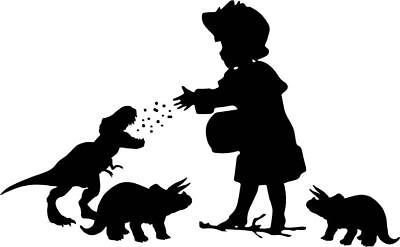 - Little Girl Feeding Dinosaurs Decal Speshuls Window Bumper Sticker Car Bird Kid