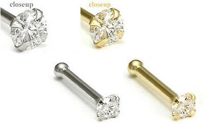 Clear Gem Nose Stud - 14kt White or Yellow Gold Clear Gem Nose Stud, 18 gauge (18g) or 20 gauge (20g)
