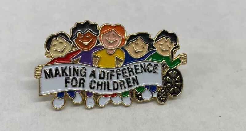 """""""Making A Difference For Children"""" Positive Colorful Gold Tone Lapel Pin"""