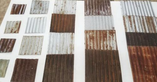 (#14) 20 pieces Vintage Reclaimed Corrugated Rustic Metal Roofing Tiles