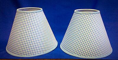 Set of 2 Blue White Gingham Check Handmade Lamp Shade Lampshade Blue Gingham Lamp Shade