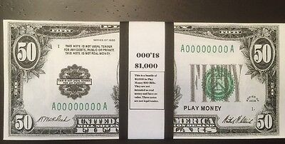 $1,000 In 1928 $50 Bills Play Money, Prop Money USA Actual Size 20 Pcs