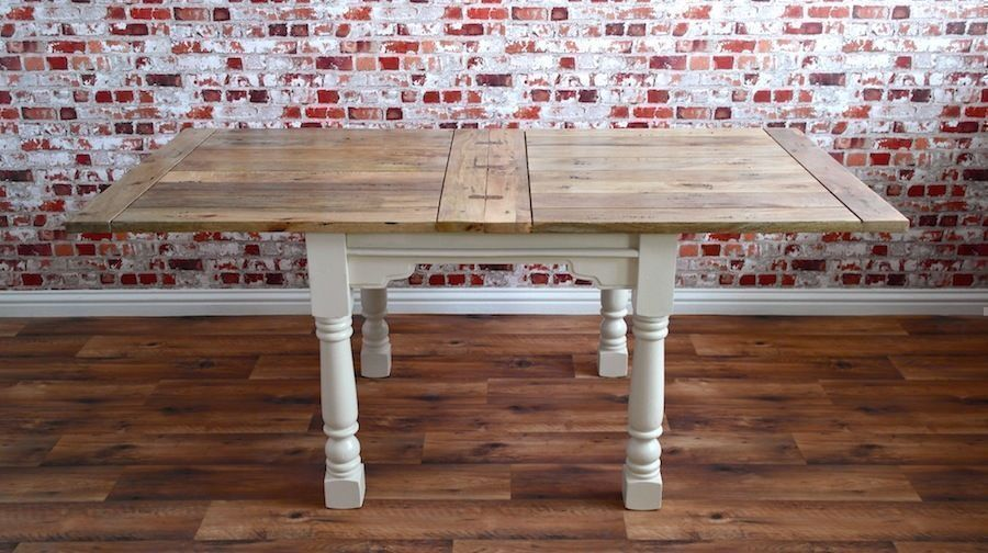 Extendable Dining Table Country Rustic Farmhouse Style - Space Saving, Extending - 4-8 persons