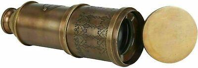 "Marine Telescope Nautical Antique Solid Brass Pirate Spyglass 20"" Wooden Box"