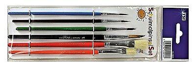 Pinsel-Set 6-Er-Set Pinsel Haarpinsel Nr. 2, 4, 6, 10 & Borstenpinsel Nr. 8, 12