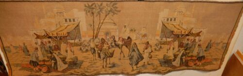 LARGE ORIGINAL EMBROILED STREET MARKET SCENE WALL TAPESTRY