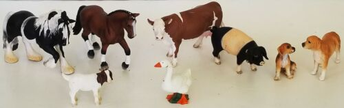 SCHLEICH 8 pc lot retired FARM ANIMALS Schwabian BOAR Tinker MARE Cow 2 DOGS Kid