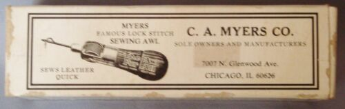 VINTAGE C.A. MYERS LEATHERCRAFT FAMOUS LOCK STITCH SEWING AWL PATENTED 1936