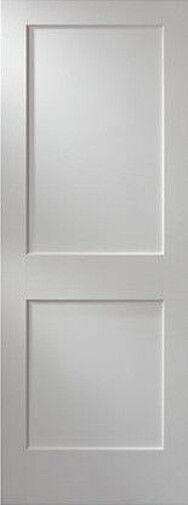 2 Panel Flat Primed Mission Shaker Stile & Rail Solid Core Wood Doors - Prehung