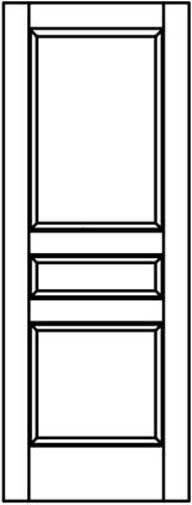 3 Panel Square Top Stile & Rail Interior Wood Doors 20 Wood Species Model# 3NTC