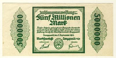 NOTGELD - Stadt LANGQUAID - 5 MILLIONEN MARK 5.9.1923 (221)